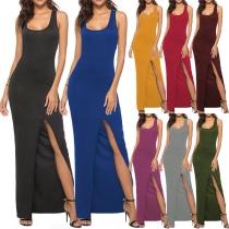 Elegant High Slit Solid Color Long-line Tank Dress