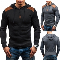 Fashion Button Front Faux Leather Spliced Men Long Sleeve Hoodies