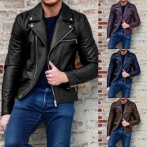 Fashion Notched Lapel Zipper Front Long Sleeve Men Faux PU Jacket