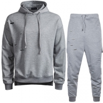 Fashion Solid Color Ripped Hoodie + Pants Men's Sports Suit