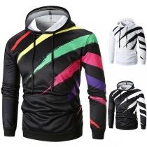 Fashion Contrast Color Printed Long Sleeve Men's Hoodie
