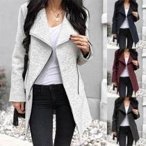 Fashion Long Sleeve Lapel Oblique Zipper Woolen Coat