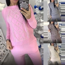 Fashion Beaded Long Sleeve Sweater + Knit Pants Two-piece Set