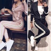 Fashion Striped Spliced Long Sleeve Knit Coat + Pants Two-piece Set