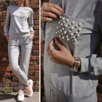 Fashion Long Sleeve Beaded Sweatshirt + Sports Pants Two-piece Set