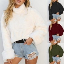 Fashion High Neck Long Sleeve Solid Color Sweater