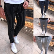 Fashion Drawstring Waist Men's Striped Casual Pants