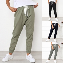 Fashion Solid Color Elastic Drawstring Waist Casual Pants