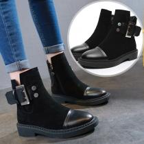 Fashion Flat Heel Rounsd Toe Side-zipper Ankle Boots Booties