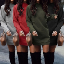 Fashion Solid Color Long Sleeve Round Neck Slim Fit Sweatshirt Dress