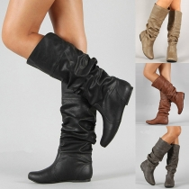 Fashion Flat Heel Round Toe Boots