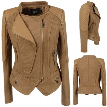 Fashion Long Sleeve Slim Fit Irregular Hem PU Leather Spliced Jacket