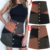 Fashion Contrast Color High Waist Single-breasted A-line Skirt