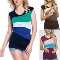 Fashion Contrast Color Sleeveless Round Neck Breastfeeding Maternity T-shirt