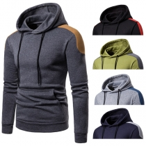 Fashion Contrast Color Long Sleeve Slim Fit Men's Hoodie