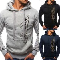 Fashion Printed Long Sleeve Men's Hoodie