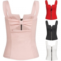 Sexy Solid Color Sling Sleeveless Front Zipper Slim Fit Vest