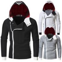 Fashion Contrast Color Oblique Zipper Printed Men's Hoodie