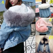 Fashion Faux Fur Spliced Hooded Plush Lining Denim Coat