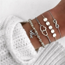 Fashion Heart Linked Bracelet Set 4 pcs/Set