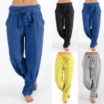 Fashion Solid Color Elastic Waist Loose Men's Pants
