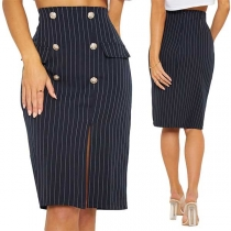 Fashion High Waist Slit Fit Slit Hem Striped Skirt