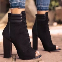 Fashion Thick High-heeled Peep Toe Ankle Boots
