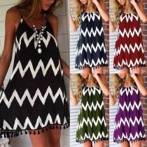 Sexy Backless Tassel Hem Wavy-striped Sling Dress
