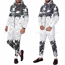 Fashion Camouflage Printed Hooded Sweatshirt Coat + Pants Men's Sports Suit