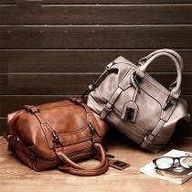 Retro Style Solid Color PU Leather Hanbag Shoulder Bag