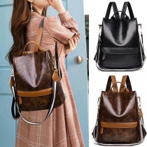 Retro Style Back Zipper Structured Faux PU Backpack