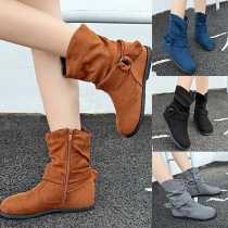 Fashion Flat Heel Round Toe Side-zipper Boots Booties