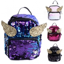 Chic Style Contrast Color Wings Sequin Backpack