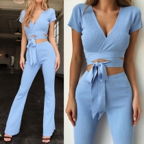 Sexy Short Sleeve V-neck Lace-up Crop Top + High Waist Pants Two-piece Set