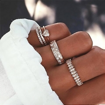 Fashion Rhinestone Inlaid Alloy Ring Set 5 pcs/Set