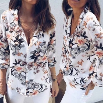 Fashion Long Sleeve V-neck Printed Blouse