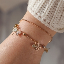 Fashion Hollow Out Flower Dragonfly Pendant Bracelet