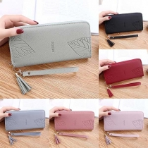 Fashion Solid Color Long-style Wallet with Hand Strap