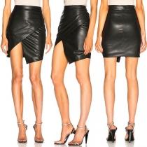 Fashion High Waist Irregular Hem PU Leather Skirt (It falls small)