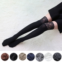 Fashion Solid Color Lace Spliced Over-the-knee Socks