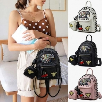 Retro Style Rivets Embroidery Backpack