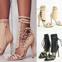 Sexy High-heeled Open Toe Lace-up Ankle Boots