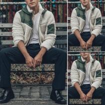 Fashion Contrast Color Long Sleeve Hooded Men's Plush Coat