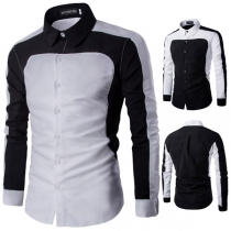 Fashion Contrast Color Lapel Collar Single-breasted Shirt