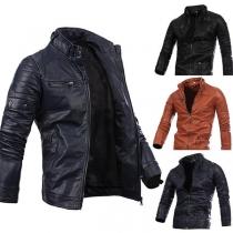 Fashion Solid Color Long Sleeve Zipper PU Men's Jacket