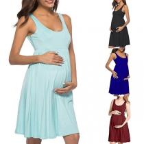 Fashion Solid Color Sleeveless High Waist Maternity Dress