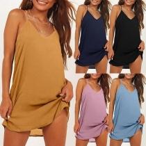 Sexy V-neck Solid Color Sling Loose Dress