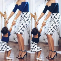 Fashion Contrast Color Backless Printed Mother's and Kid's Dress