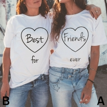 Fashion Contrast Color Round-neck Short Sleeve Letters Printed Shirt