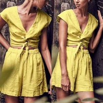 Fashion Solid Color Deep V-neck Sleeveless Twisting Hollow Out Shirt + Shorts Two-piece Set